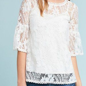 Anthropologie Blue Tassel Lace Top Large Daisy